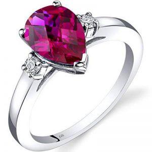 14ct Revoni or blanc Créé Ruby diamant Anneau Tear drop 2.50 Carat de la marque Revoni image 0 produit