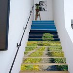 3D Auto-Adhésif Escalier Stickers Muraux Creative Décoratifs Stickers DIY Art Mural Amovible Escaliers PVC Étanche Papier Peint Pour Salon Décoration Vert Herbe Autocollants D'escalier,100*18cm*13pcs de la marque CHBB image 2 produit