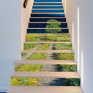 3D Auto-Adhésif Escalier Stickers Muraux Creative Décoratifs Stickers DIY Art Mural Amovible Escaliers PVC Étanche Papier Peint Pour Salon Décoration Vert Herbe Autocollants D'escalier,100*18cm*13pcs de la marque CHBB image 0 produit