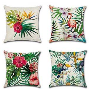 4pcs 45,7x 45,7cm Tropical plantes en coton et lin Couvre-lit Taie d'oreiller Coque carré Housse de coussin de la marque Aipark image 0 produit