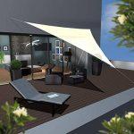AMANKA Voile d'ombrage XXL 5x5x5m toile triangulaire de jardin pour faire ombre en PE-HD respirant perméable Crème de la marque AMANKA image 1 produit