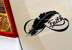 Beauté Oiseau plumes Faith voiture Drift pare-chocs fenêtre Funny en vinyle Van pour ordinateur portable Love Heart Decor Home Live Kids Funny autocollant mural en stickers pour moto de la marque spb87 image 0 produit