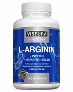 Capsules de L-Arginine À FORT DOSAGE - 360 capsules formule VITALE B6, B12, acide folique, sélénium, pipérine pour 3 mois, produit allemand de qualité supérieure et 30 jours de reprise gratuite de la marque VISPURA image 0 produit