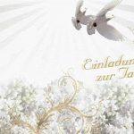 Cartes invitations de baptême avec texte intérieur et enveloppes Motif jeune fille blanche pigeons (K24) Invitation Baptême, Weiß, 14,8cm x 10,5cm de la marque gabishop567 image 1 produit