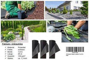 Couvre-sol de 150 g/m², recouvrant les mauvaises herbes de jardin. Dimensions: 1 m x 25 m. de la marque Qualitätsvlies trading-point24 Denise Richter image 0 produit