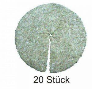 Disque de paillage en fibres de chanvre, mulch-disk, 20 pièces, diamètre : 40 cm, 5 mm d'épaisseur, tapis de protection des plantes, tapis de protection contre les mauvaises herbes, tapis de protection pour l'hiver, 100 % biodégradable, fabriqué à partir image 0 produit