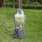Figurine Faucon Hibou Décor Jardin Protège Jardin Effaroucher Chat Lapin Oiseau-17x17,5x41cm-Gris de la marque Générique image 2 produit