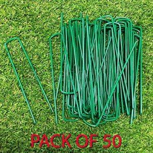 Fineway Heavy Duty Lot de 50U pins Vert gazon artificiel Gazon Piquets en métal galvanisé Agrafes Weed patères Parfait pour sécuriser tentes, feuilles de sol, auvents, objectif, filets et de bassins Filet de la marque FiNeWaY image 0 produit