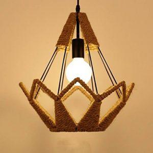 L'éclairage de corde de chanvre industriel vent rétro, lustre Cage à oiseaux Diamond Bar Restaurant les filets de lumières card e27 Eclairage intérieur (taille: 35*37 cm). de la marque FGGR GERGRE image 0 produit
