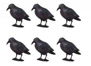 Lot de 6 Corbeaux noirs en plastique, anti-pigeons, avec tige de fixation et pieds, appelant pour chasse de la marque Unimet image 0 produit