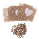 MagiDeal 10pcs Toile de Jute Napperon Motif Coeur avec Ficelle Accessoire Rustique pour Mariage - 10.5x10.5cm de la marque MagiDeal image 4 produit