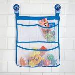 mDesign sac de rangement suspendu sans perçage – filet de rangement mural avec 3 poches – serviteur de douche pour accessoires de douche, shampooings, jouets pour le bain – transparent/bleu de la marque MetroDecor image 2 produit