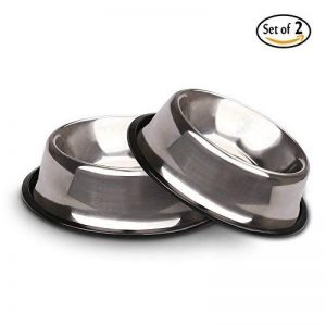 miaosun Pet Bowls for Cats Non Skid with Natural Rubber Base, Variety of Colors Food Grade Stainless Steel Dog Food And Water Bowls for Travel, Pack of 2 (sliver*2) de la marque miaosun image 0 produit