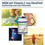 MSM Soufre Organique - Poudre MSM pur - 365 capsules à fortes doses: 99,9% pure MSM (méthyl-sulfonyl-méthane) - 1400 mg de poudre MSM purement + 80 mg Vitamine C par dose quotidienne - 5-6 mois MSM cure - Qualité Supérieure de la marque gloryfeel image 4 produit