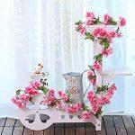 MZMing 2pcs x235cm Fleur Artificielle Sakura Suspendus Vignes Guirlande Beau et charmant Simulation Plante Fleur Feuilles de vigne pour la Fête de Famille Clôture de Jardin Mariage de Noel Décoration- Rouge de la marque MZMing image 1 produit
