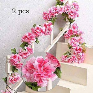 MZMing 2pcs x235cm Fleur Artificielle Sakura Suspendus Vignes Guirlande Beau et charmant Simulation Plante Fleur Feuilles de vigne pour la Fête de Famille Clôture de Jardin Mariage de Noel Décoration- Rouge de la marque MZMing image 0 produit