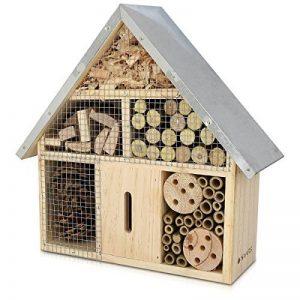 Navaris Hôtel insecte en bois - Cabane abri taille M 24,5 x 28 x 7,5 cm - Maisonnette refuge abeille coccinelle papillon et autres insectes volants de la marque Navaris image 0 produit