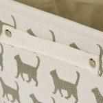 Panier de rangement de toile de chat blanc - panier de tissu de rectangle de haute qualité avec le modèle gris de chat - parfait pour le stockage de ménage, les tissus ou les jouets. Taille: 40cms x 30cms x 25cms de la marque For the Love of Home Leisure image 3 produit