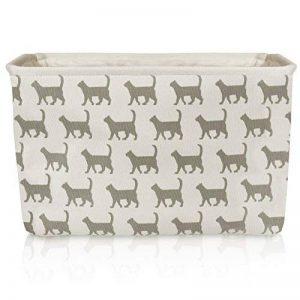 Panier de rangement de toile de chat blanc - panier de tissu de rectangle de haute qualité avec le modèle gris de chat - parfait pour le stockage de ménage, les tissus ou les jouets. Taille: 40cms x 30cms x 25cms de la marque For the Love of Home Leisure image 0 produit