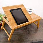 Relaxdays Table pour Ordinateur HxlxP : 24 x 55 x 33 cm Portable Table de Lit Pliante pliable avec un petit tiroir en bois de bambou tablette inclinable réglable support genoux laptop, nature de la marque Relaxdays image 1 produit