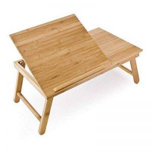 Relaxdays Table pour Ordinateur HxlxP : 24 x 55 x 33 cm Portable Table de Lit Pliante pliable avec un petit tiroir en bois de bambou tablette inclinable réglable support genoux laptop, nature de la marque Relaxdays image 0 produit