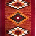Tapis Aztèque Ethnique Rouge Terre Cuite, Marron & Blanc Cassé - 7 Tailles Disponibles de la marque The Rug House image 1 produit