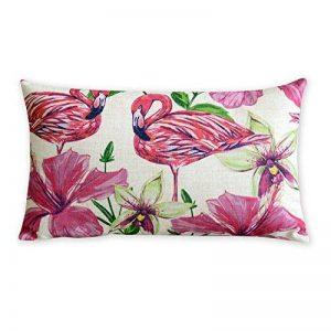 Tropical les plantes et les flamants roses en coton et lin Taie d'oreiller American Art Coussin Coussins décoratifs Home Decor Canapé Taie d'oreiller Almofada - 19.6x11.9 inches 50x30cm de la marque CHUJIN image 0 produit