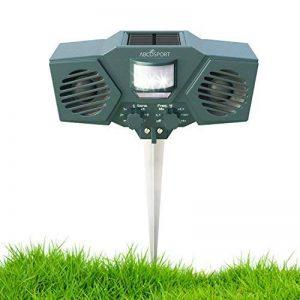 Ultrason solaire Animal et Répulsif–avec 30'détecteur de mouvement, LED Clignotant–Pest Control pour Raton laveur, chats, chiens, cerfs, oiseaux Motif–Résiste aux intempéries–Comprend 3piles et câble USB de la marque Abco Tech image 0 produit