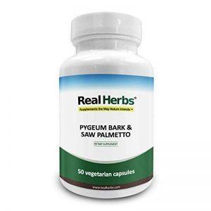 Un Extrait pur d'écorce de Pygeum de Real Herbs 4: 1 350mg et un Extrait pur du Palmetto de scie 3: 1 350mg - 700mg -Renforce la santé de la prostate et des voies urinaires, améliore la fonction sexuelle - 50 capsules végétariennes de la marque Real-Herbs image 0 produit