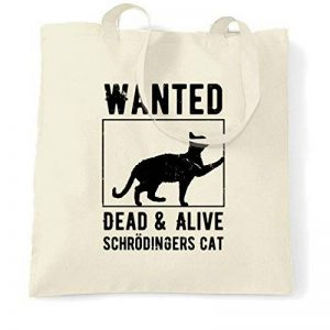 Wanted Dead and Alive Schrödingers Affiche de chat Distressed Sac à Main de la marque Tim and Ted image 0 produit