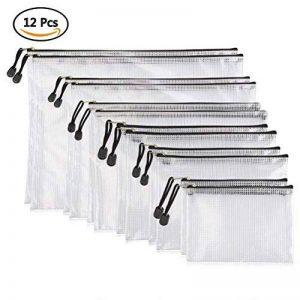 YOTINO 12 pochettes pour documents, souples, extra solides, imperméables, poches zippées, sac en filet, pour formats de papier DIN B4, A4, B5, A5, B6, A6 de la marque YOTINO image 0 produit