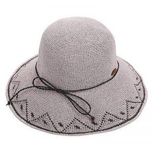 ZHANWEI chapeau de soleil chapeau de plage Saison d'été Femme Chapeau de paille Fibre végétale Protection contre le soleil Élargir le bord Round top Pliable, 8 couleurs, 55-57cm ( Couleur : Gris ) de la marque ZGANWEI-maozi image 0 produit